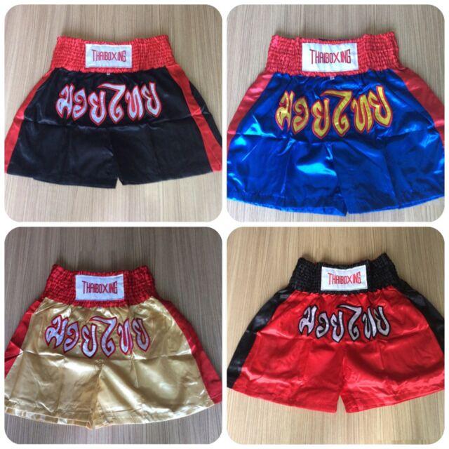 Muay Thai Kick Boxing Black-Red Color Shorts MMA Trunks Satin fabric,Size M-XXXL