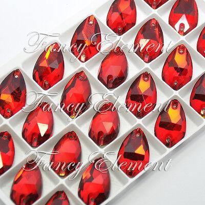 48pcs Glass Round 3200 12mm Siam Red Crystal Sew On Rhinestone Flatback Jewelry