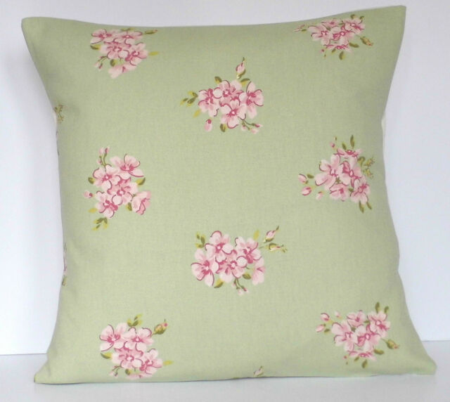 Clarke and Clarke Shabby Chic Tilly Sage Green Pink Cushion Cover Size Choice