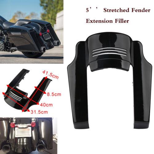 5/'/' Black Rear Stretched Fender Extension Filler For Harley Touring Bike 14-17