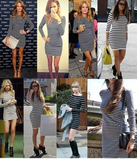 CELEB BRETON STRIPED LONG SLEEVED DRESS 6 8 10 12 14 16 PETITE REGULAR TALL