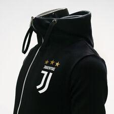 Juventus Full Zip Hoodie Soccer Team Jacket Turtleneck Hooded Outer Black