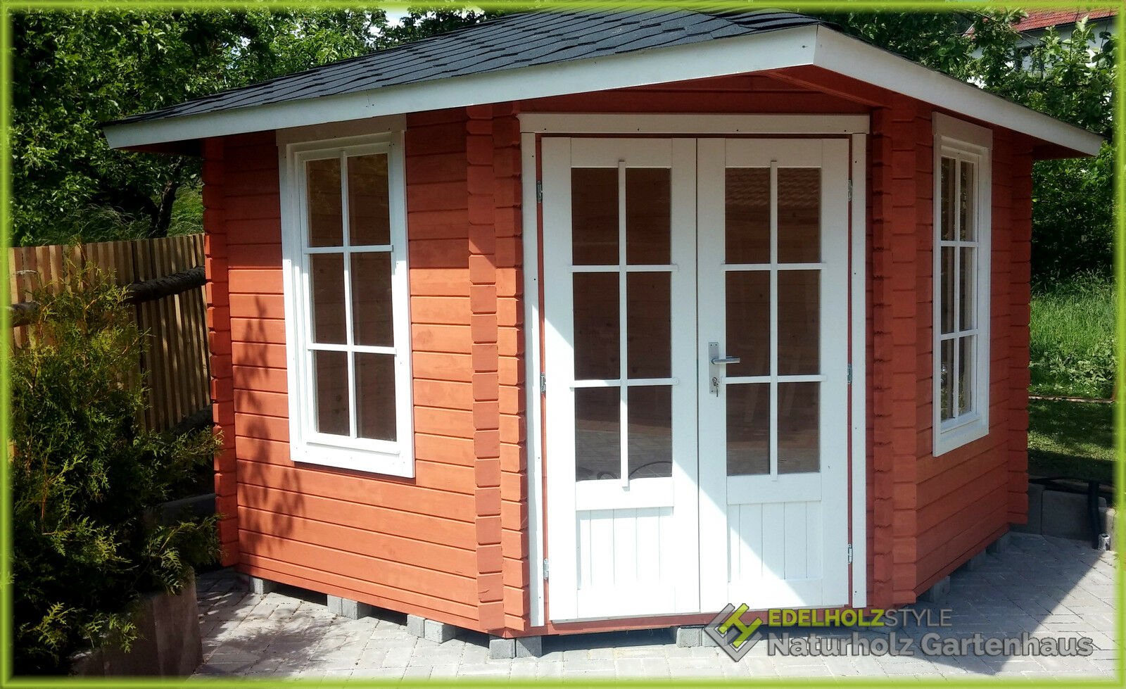 5-eck gartenhaus blockhaus, pavillon 3x3m 5-eckige aus holz, 40mm