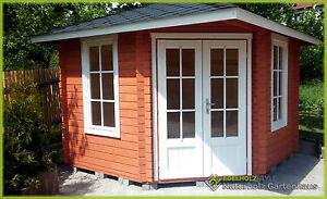 5-Eck Gartenhaus Blockhaus, Pavillon 3x3M 5-Eckige aus Holz, 40mm ...