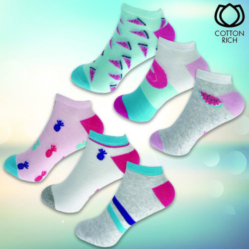 Ladies Summer Cotton Rich Ankle Socks 3-6 Pairs UK 3-8 Pastel Pink White Grey