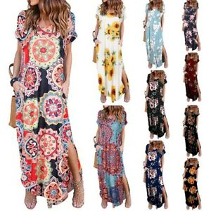 Womens-Sexy-V-neck-Floral-Slit-Maxi-Dresses-Ladies-Summer-Holiday-Beach-Sundress