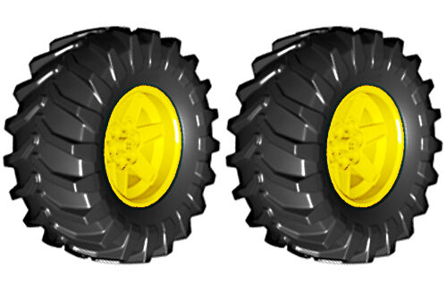 technic,tire,tread,tractor,tow,truck,loader,off,road 2 Lego MUD Tires Wheels
