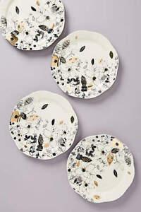 NWOT-Lauren-Wan-x-Anthropologie-Set-of-4-Floral-Porcelain-Dinner-Plates-10-25-034