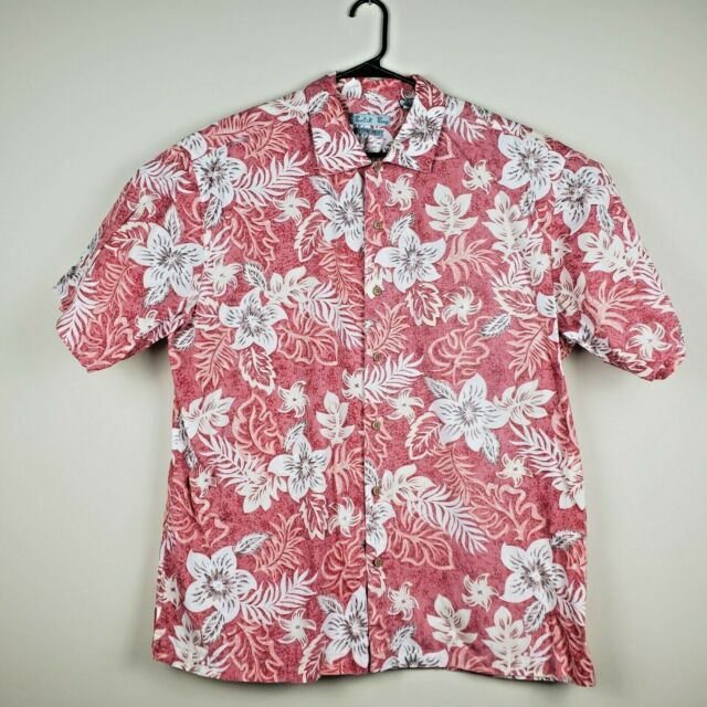 Batik Bay Men's XXL Red Hawaiian Pattern Button Down Front