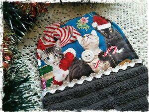 Modern-Christmas-GRAY-Hanging-Hand-Towel-Xmas-Cats-Handmade-Button-Close