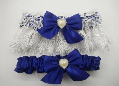 Vintage Blue/&White Garter Set//Ribbon Bow Something Blue//Hen Party//Bride//Gatsby