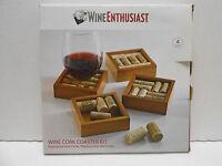 Wine Enthusiast Wine Cork Coasters Kit (set Of 4) Cork Coasters In Box