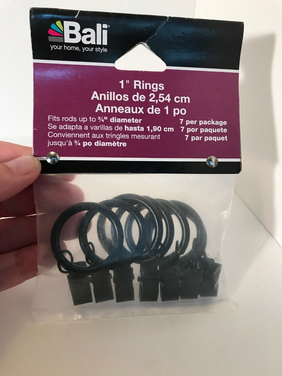 Bali 1 5 Curtain Rings With Clips Black