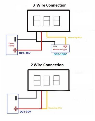 """MINI LED Pannello Voltmetro Digitale Misuratore Tensione DC 0-100V 0,28 /"""" 2 o 3 FILI CONN."""