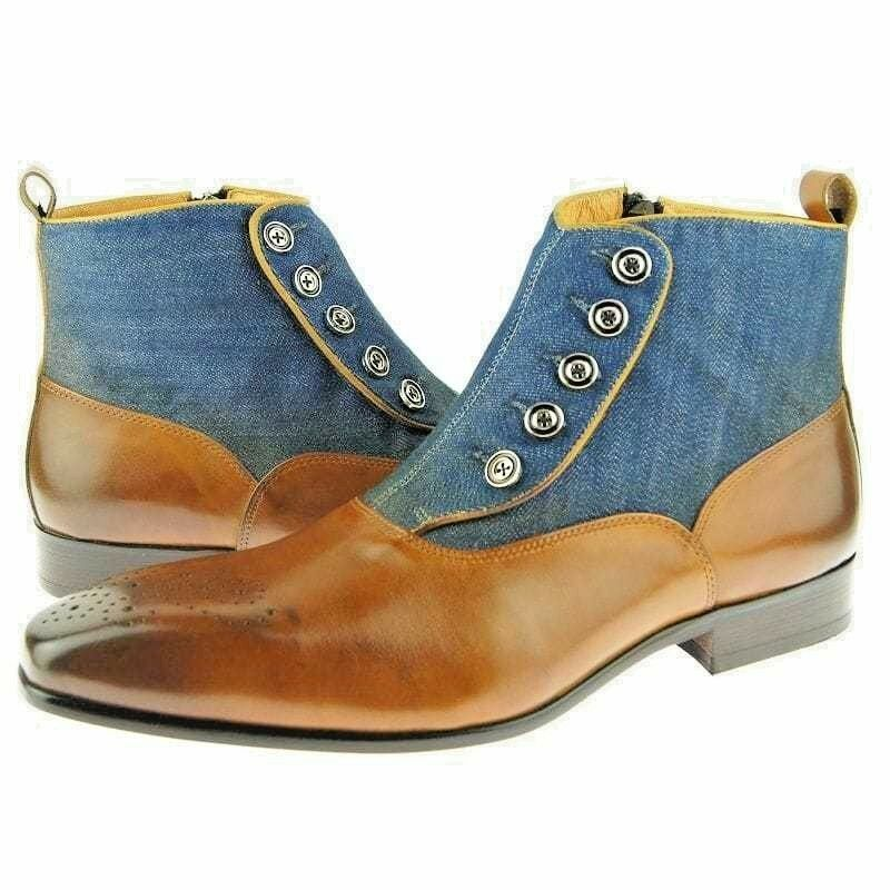 HANDMADE PATINA TWO TONE Stiefel,MEN DRESS BUTTON,LIGHT TAN AND AND AND DENIM BUTTON Stiefel 86c048