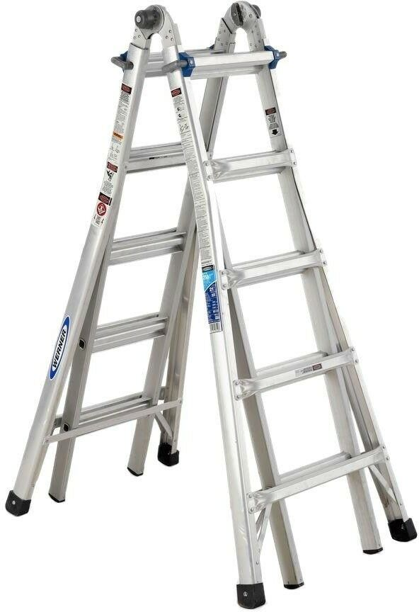 Werner Telescoping Multi-Position Ladder 22 ft. Aluminum Lightweight Portable