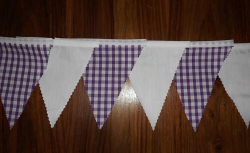 Purple /& White Gingham fabric bunting Wedding Bedroom Decoration 2mt or more
