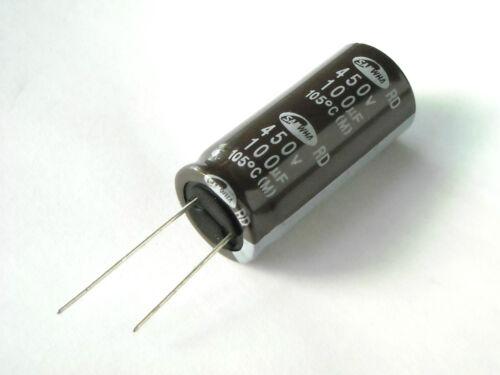 Condensatore Elettrolitico 100uF 450V 105°C dim 18x40mm Radiale