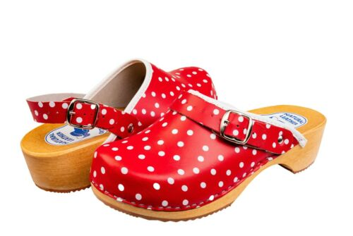 Womens Fashion Clogs Red White Spotty Polka Dots Slip On Leather Shoes Mules 3-8