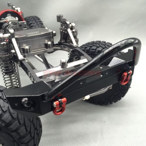 RC 1//10 Axial SCX10 CNC Machined FULL METAL Front Bumper With Tow Shackles Black