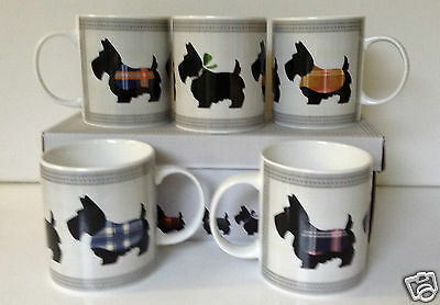 2X SCOTTIE DOG MUG FINE BONE CHINA BLACK TARTAN ATTIRE - PAIR OF GIFT BOXED MUGS