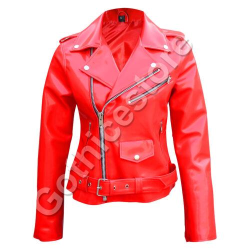 Women Gothic Moto Biker Jacket Red PVC Vinyl Punk Rocker Motorcycle Jacket