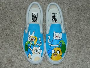 4caf8f8a1f82 Custom Hand Painted Classic VANS Adventure Time RARE Size 9.5 Men s ...