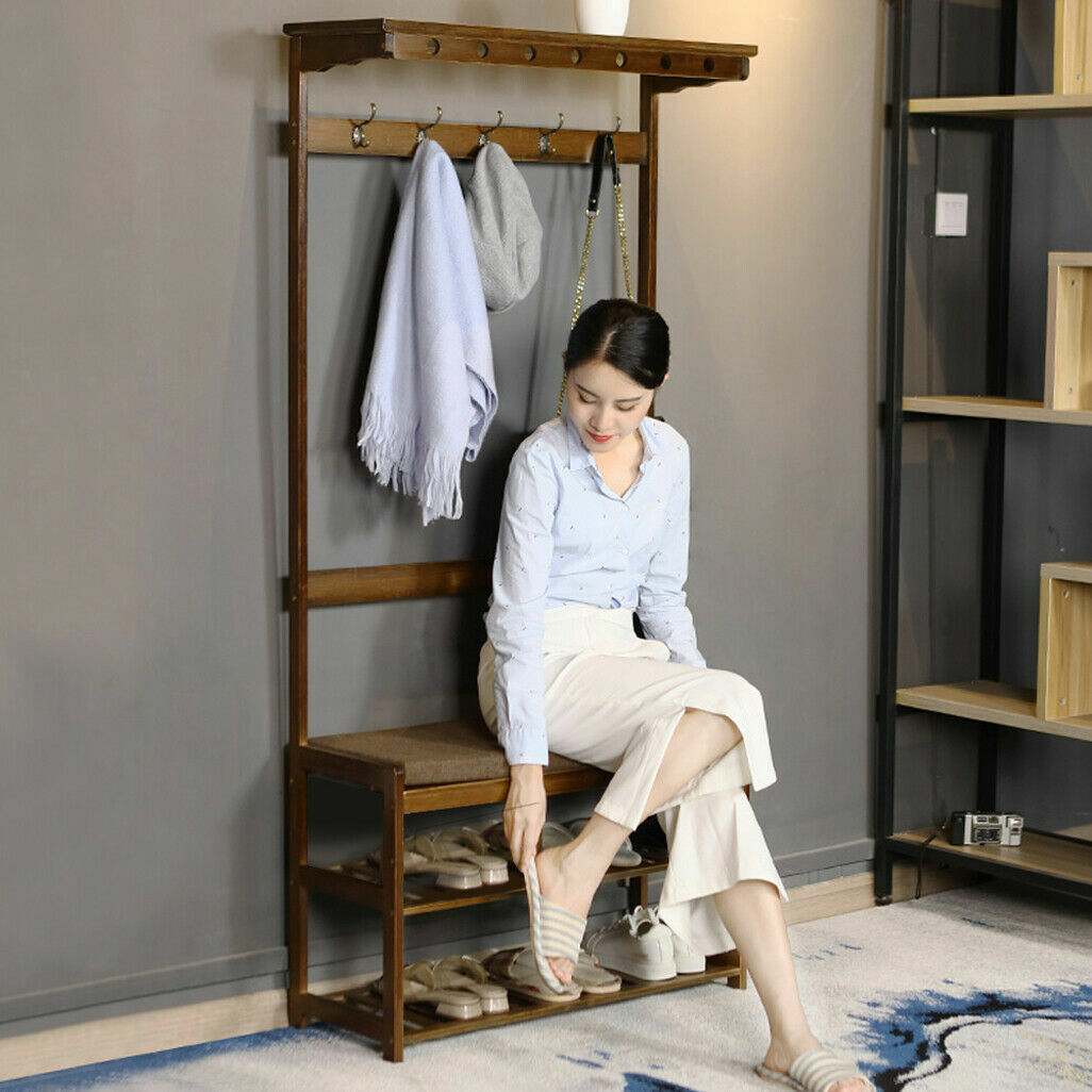 Hall Tree Storage Bench Coat Rack Entryway Hat Wood Seat Stand Hooks Entry Shoe For Sale Online Ebay