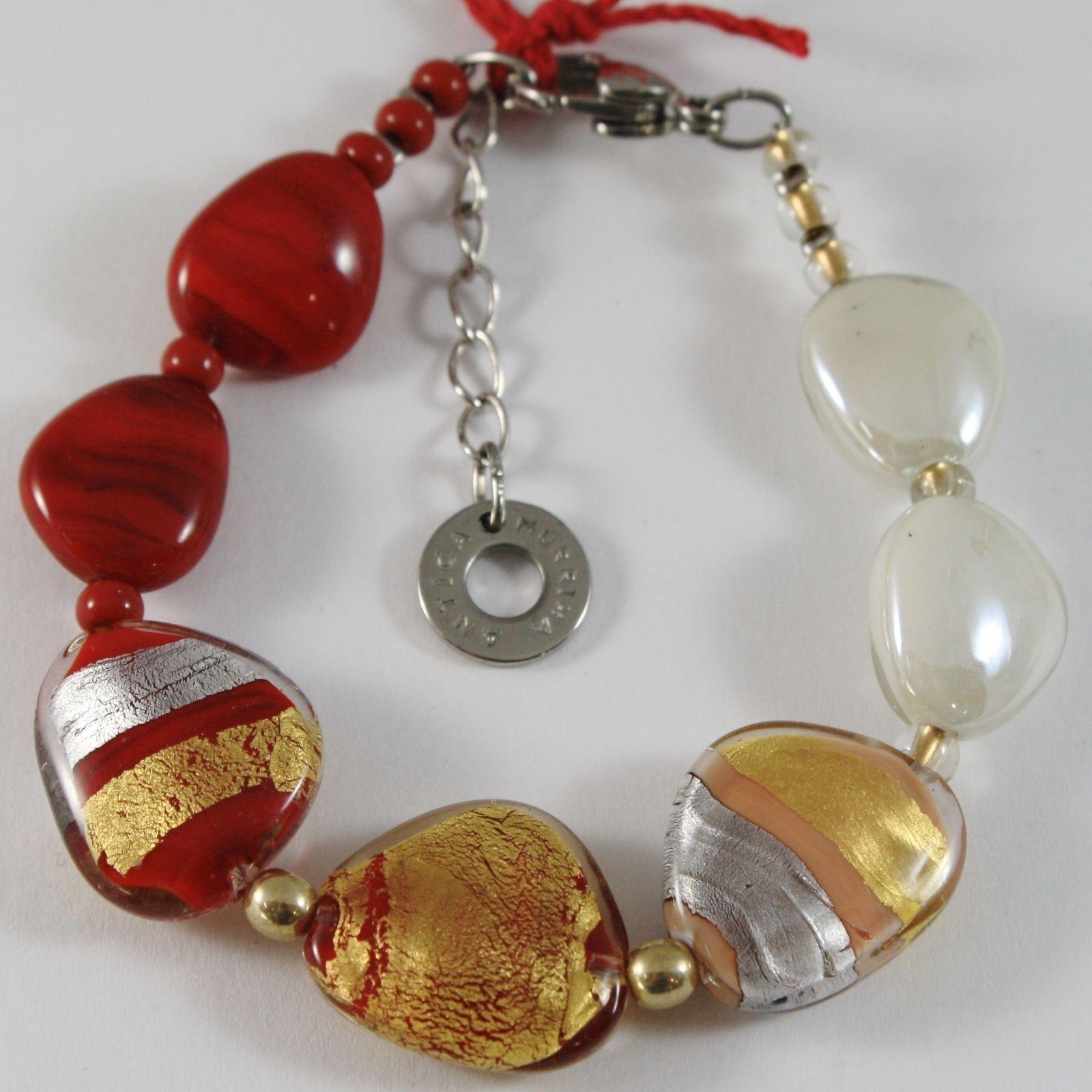 Bracelet Antica Murrina Venezia with Murano Glass Red & Beige Br747a11