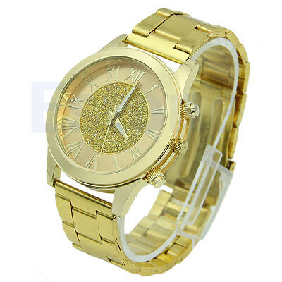 Fashion Women Roman Numerals Stainless Steel Analog Quartz Bracelet Wrist Watch