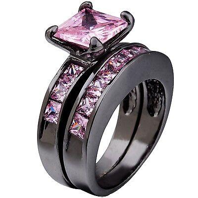 SZ 5-11 Women Black Pink Ring Band Set Anniversary Propose Birthday Wife Mom