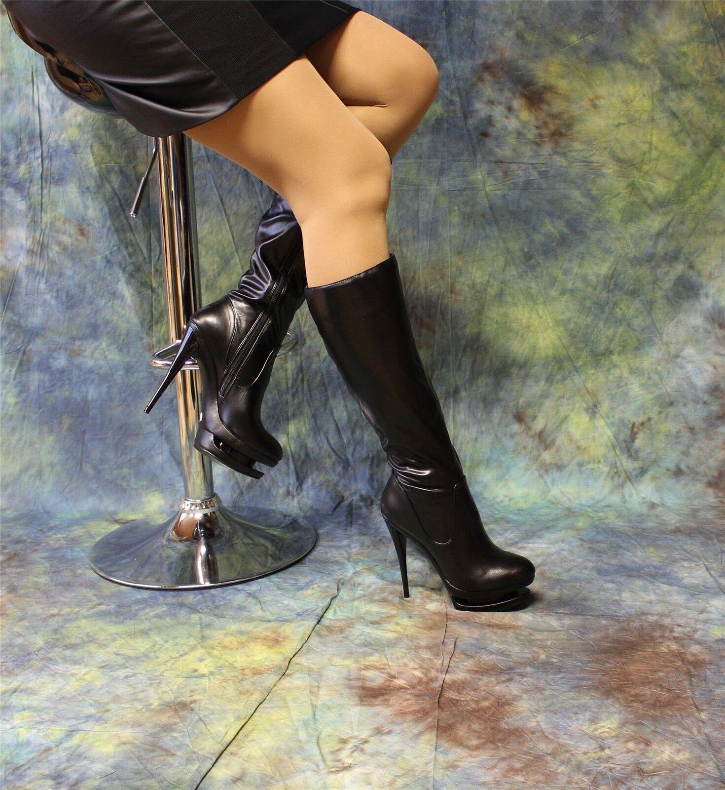 sexy schwarze Stilettostiefel mit Doppeplateau