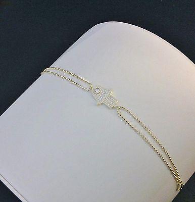 Double Chain Hamsa Bracelet-14 KT Gold Plated Sterling Silver-Hand-CZ-Evil Eye