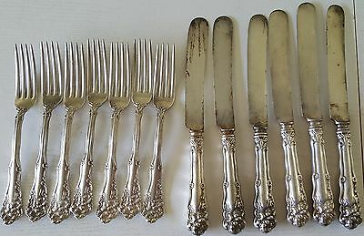 Wm Rogers x12 Silverplate Flatware Diana Pattern 6 Knives & 7 Forks Pat 1904