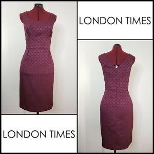 London-Times-Woman-Career-Formal-Sleeveless-Sheath-Dress-Size-14-Maroon