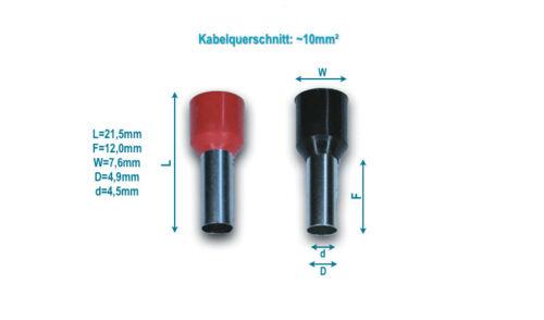 50x 100x Aderendhülsen isoliert Kabel-Querschnitt 10mm² E10-12 Crimp Stecker