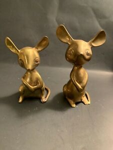 VTG-2-Mid-Century-Solid-Brass-Mice-India-Mice-5-6-Figurines-Mouse-Sculpture