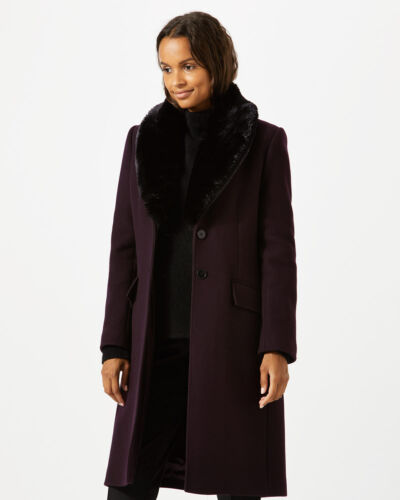 Jigsaw Modern Wool Fur Collar Coat Womens New Purple Aubergine