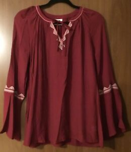 St Johns Bay Womens Top Shirt  New  XL Color Rose Wine