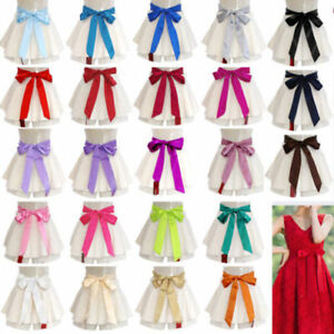 Satin-Sash-Belt-Ribbon-For-WEDDING-Bridesmaid-Flower-Girl-Fancy-Dress-Multicolor