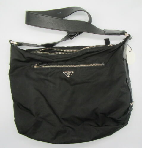 PRADA Black Nylon Large Shoulder Bag