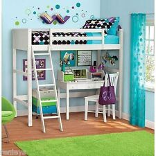 Twin Bunk Loft Bed Over Desk With Ladder Kids Bedroom White Wood Furniture