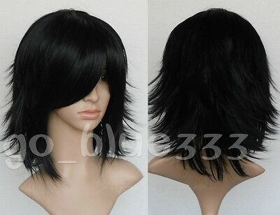 825Fashion Flip Out Black Sexy Layered Short Medium Straight Cosplay Anime Wig