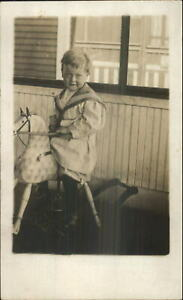 Little-Boy-on-Rocking-Horse-Toy-Winnipeg-Manitoba-Cameo-Real-Photo-Postcard