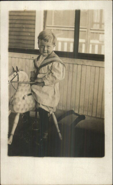 Little Boy on Rocking Horse Toy - Winnipeg Manitoba Cameo Real Photo Postcard