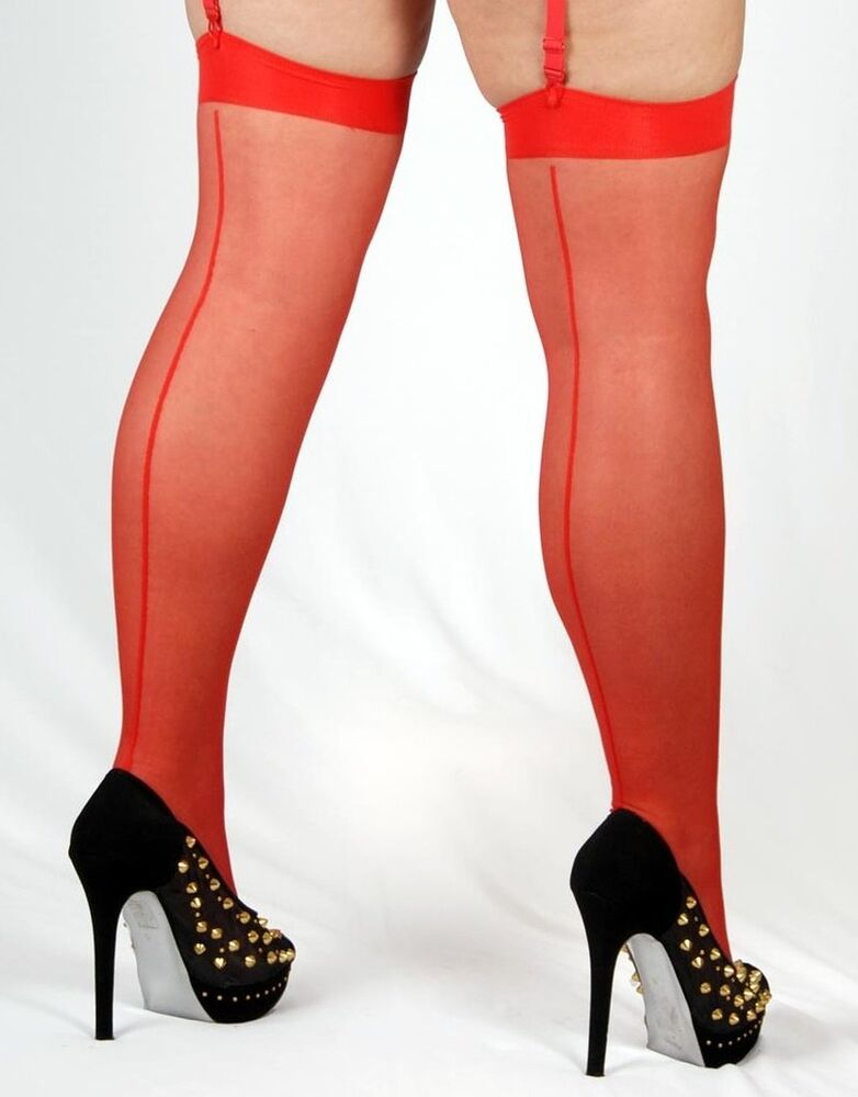 *** New *** Red Seamed Stockings With Red Point Hauts