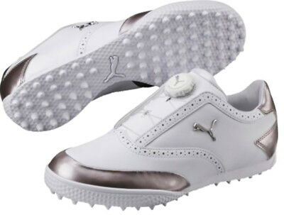 1 Pair Of Puma Japan Monolite Cat Disk Boa Golf Shoes Women S White Silver Ebay