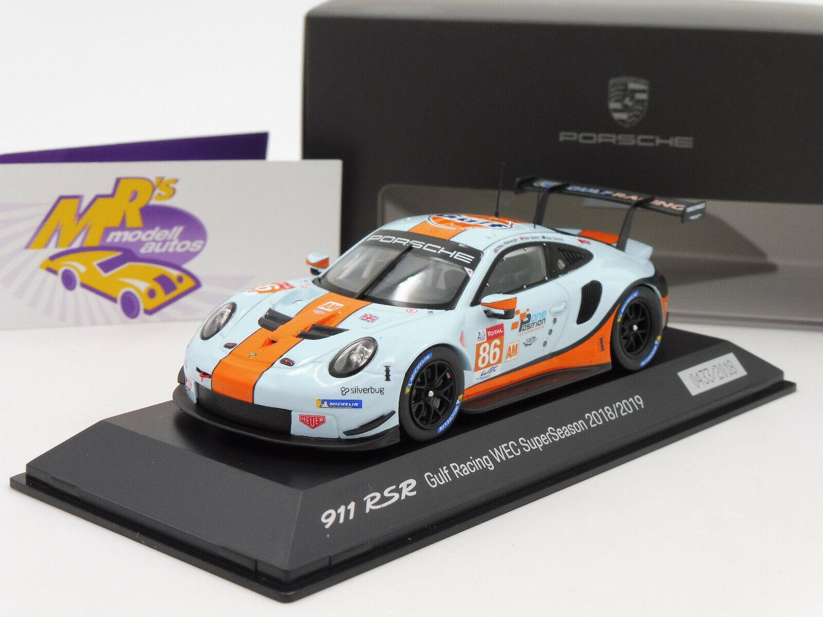 SPARK wap0209220k   PORSCHE 911 RSR 24 H. LE MANS 2018  Gulf Racing No. 86  1 43