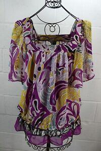 NICOLE-MILLER-Multi-Color-Paisley-Floral-Art-Print-Boho-Off-Shoulder-Smocked-Top