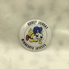VINTAGE Honey Sunday Minnesota Jaycees Bee Button Pin Pinback 2.25""